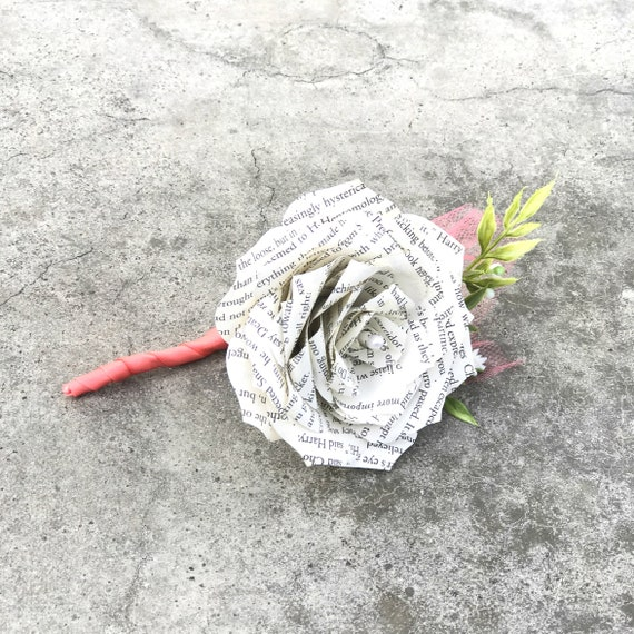 Book Page Paper Rose Boutonniere - Wedding Boutonniere -