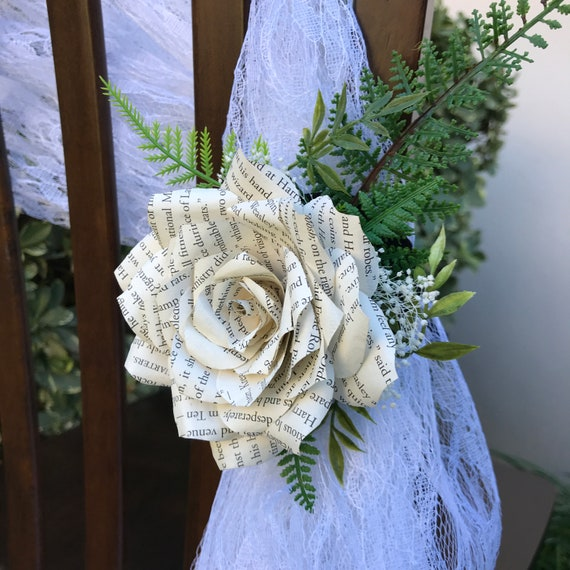 Chair tie book page paper rose - Wedding and event chair flower