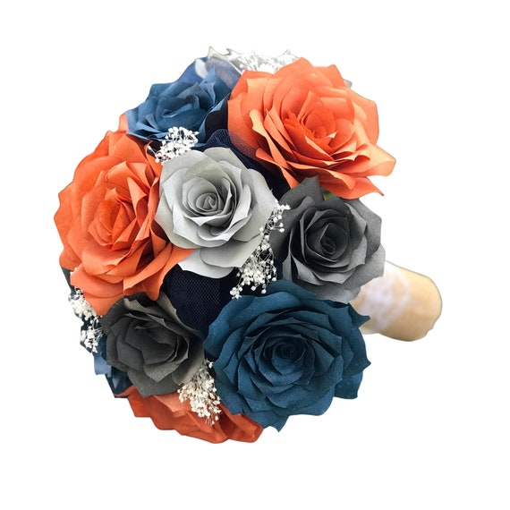 Wedding bouquet in burnt orange navy blue and shades of gray paper roses - Colors can be customized