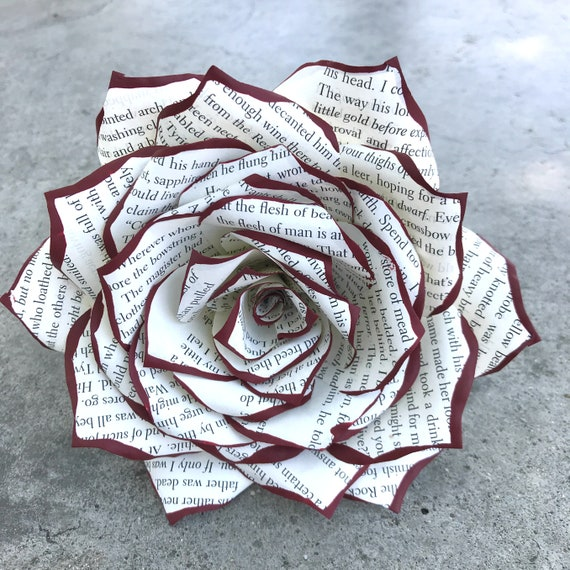 Book Page Rose - 3 or 5 inch Paper Book Flowers - Choose Tip Your Color