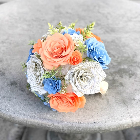 Bridal bouquet using paper filter flowers and book page roses - Colors are customizable