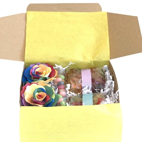 Rainbow Flower and candy gift - Birthday gift box - Cheer up box