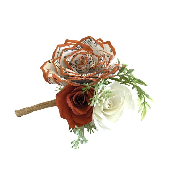 Music note paper rose burnt orange boutonniere - Customizable colors