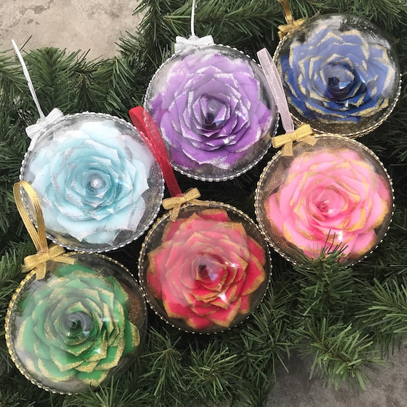 Christmas Ornament - Paper Rose Christmas tree ornament - Pink ornament - Blue ornament - Purple ornament - Red ornament - Green ornament