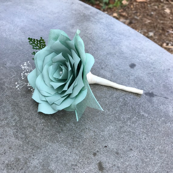 Mint Green Paper Flower Boutonniere - Wedding boutonniere - Customizable colors