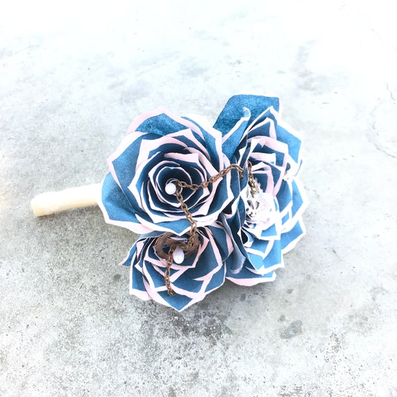 Steampunk boutonniere using handcrafted paper flowers and Cogs & Chains - Customizable Colors