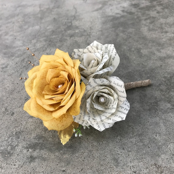 Paper rose & book page boutonniere/corsage with burlap stem - Customizable colors