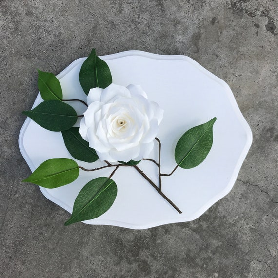 Wall art - White and gray paper flower 3D wall decor - Customizable color