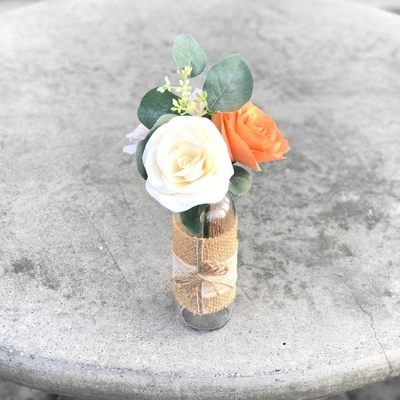 Burlap paper flower centerpiece - Floral decor
