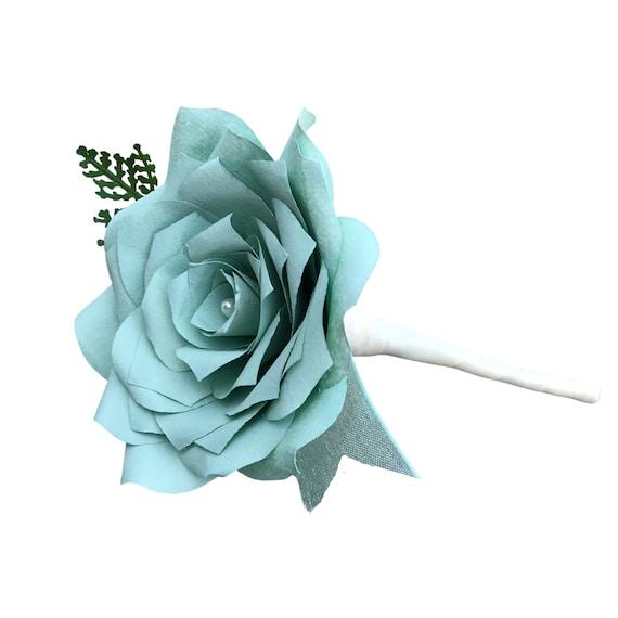 Mint Green Paper Flower Boutonniere - Wedding boutonniere - Customizable colors
