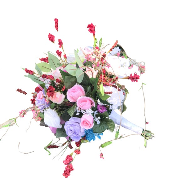Silk flower alternative wedding bouquet in assorted colors