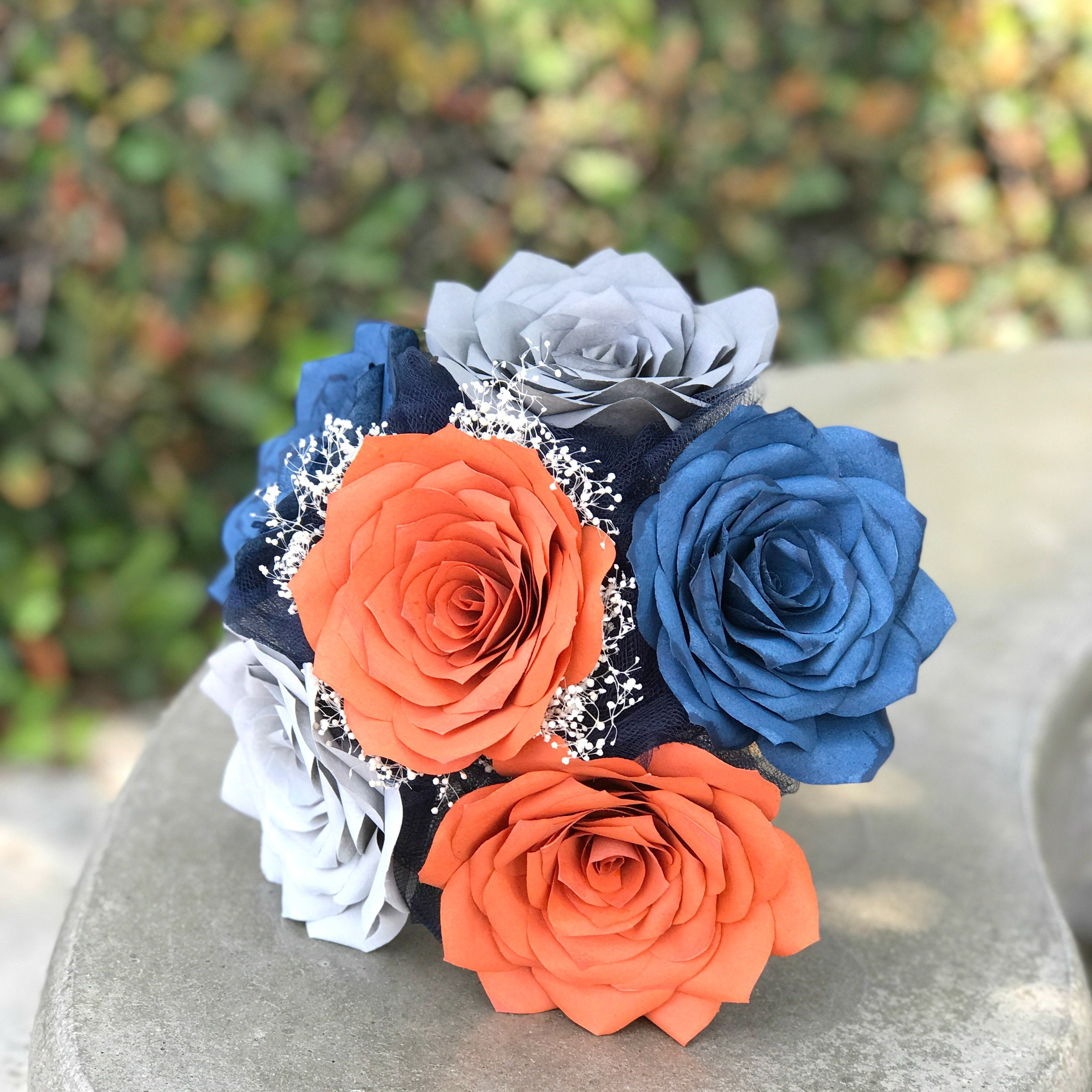 Wedding Bouquet Package In Burnt Orange And Navy Blue