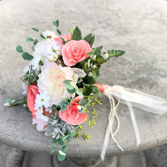 Peach silk and paper flower wedding bouquet