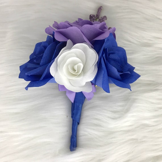 Boutonnière in royal blue and lavender - Paper flower wedding boutonniere - Customizable colors