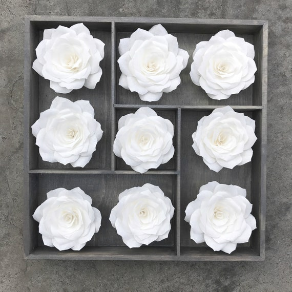 3D floral wall art using handcrafted paper roses - Choose heart, cross or rose center - Customizable colors