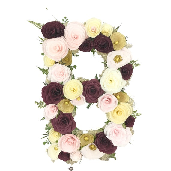 Flower Letter filled with burgundy, gold & blush handmade paper flowers