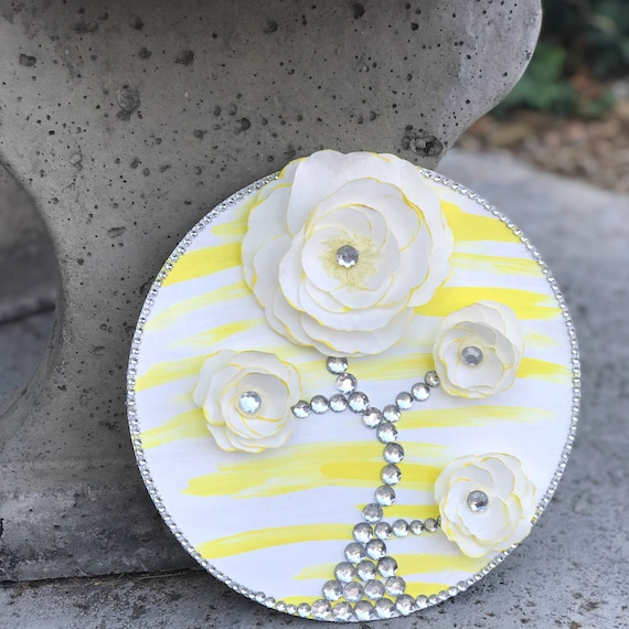 Nursery Decor - Yellow and White 3D Paper Flower Wall art Decor