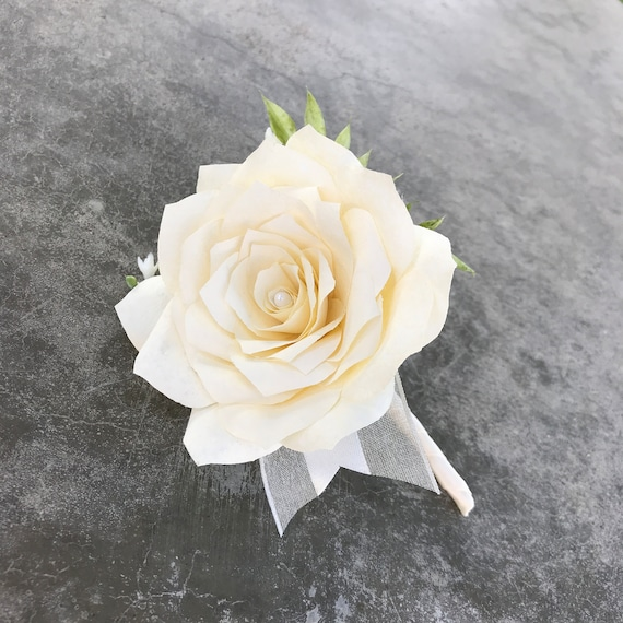 Boutonniere - Coffee Filter Paper Flower Boutonniere for Wedding or Events in Many Color Choices