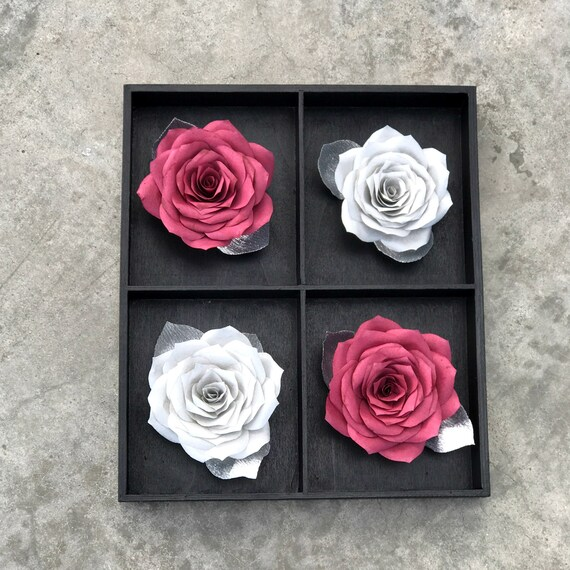 Burgundy And Silver 3d Paper Flower Wall Art Choose From 2 Sizes Customizable Colors