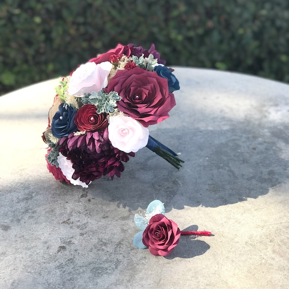Blues, reds and blush paper and silk flower wedding bouquet - Colors can be customized