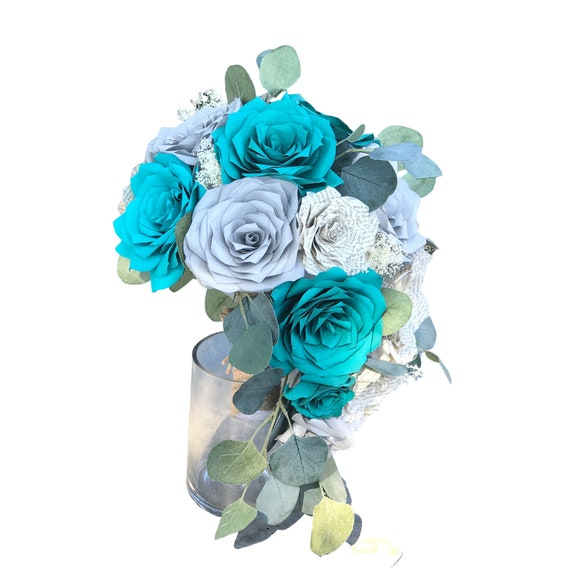 Cascading Bridal Bouquet shown in teal and silver paper filter flowers and natural book page roses - Customize your colors