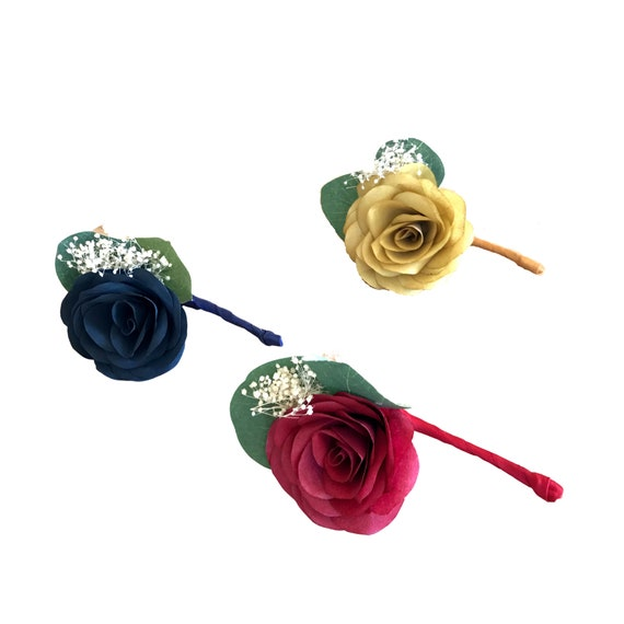 Paper Flower Boutonniere and/or corsage - Customizable colors