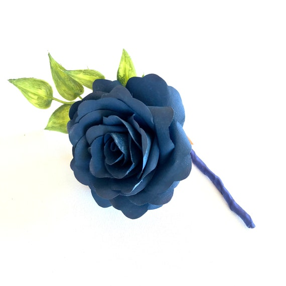 Navy Blue Paper Rose Boutonniere  - Customizable colors