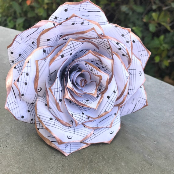 Music Note Paper Flowers Paper Music Rose In Many Tip Color Etsy