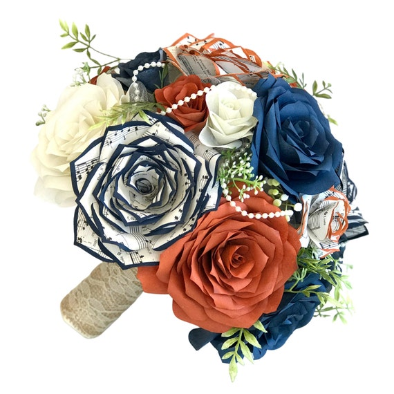 burnt orange and navy blue filter and music note paper flower bridal bouquet in customizable colors and sizes