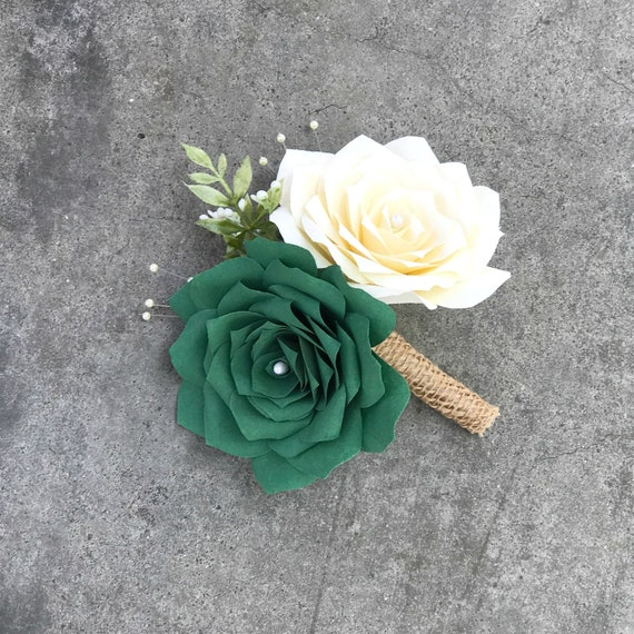 Corsage/Boutonniere in Ivory and Green Paper Roses