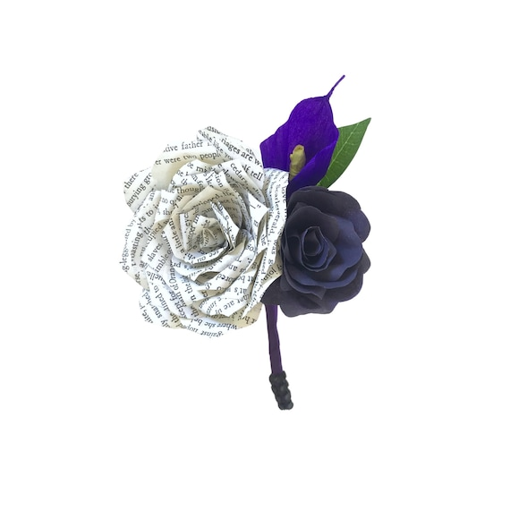 book page & calla lily Boutonniere - Customizable colors