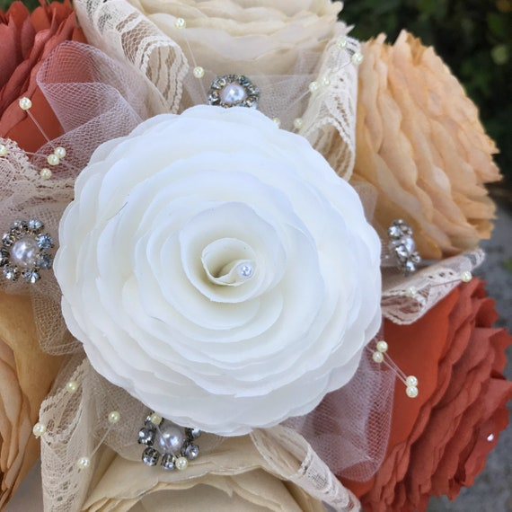 Bouquet shown in burnt orange, champagne, gold and ivory paper flowers - Customizable colors