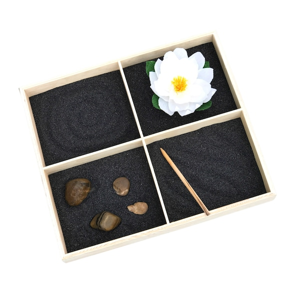Black and brown serenity Zen tabletop garden