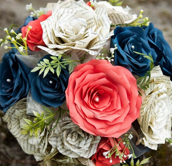 Wedding Bouquet in Coral, Navy blue & Ivory Paper Flowers and Book Page Roses - Colors are Customizable
