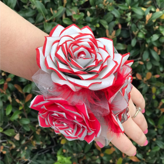 Silver and red paper rose corsage- Colors are customizable