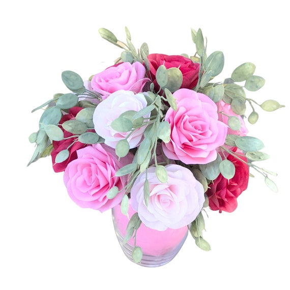 Get Well Flowers - Pink & Red Paper Rose Gift Bouquet - A Dozen Roses
