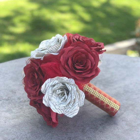 Book Page and filter paper rose bridal bouquet shown in red and natural colors - Colors are customizable