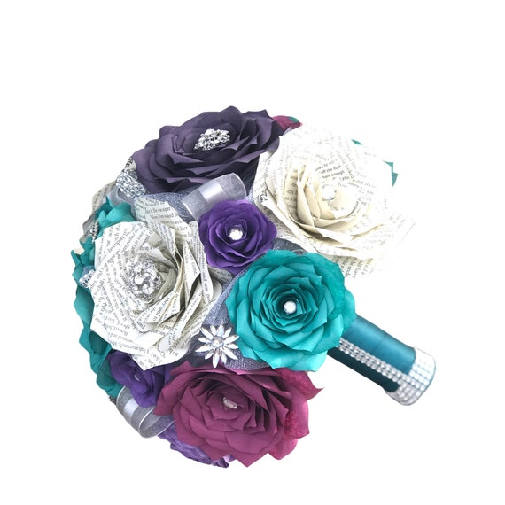 Book page and filter paper rose brooch bouquet - Colors are customizable