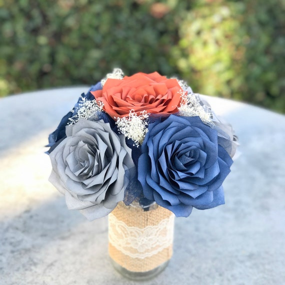 Rustic Table Centerpiece - Paper Roses in Navy, Burnt Orange & Gray - Colors are Customizable