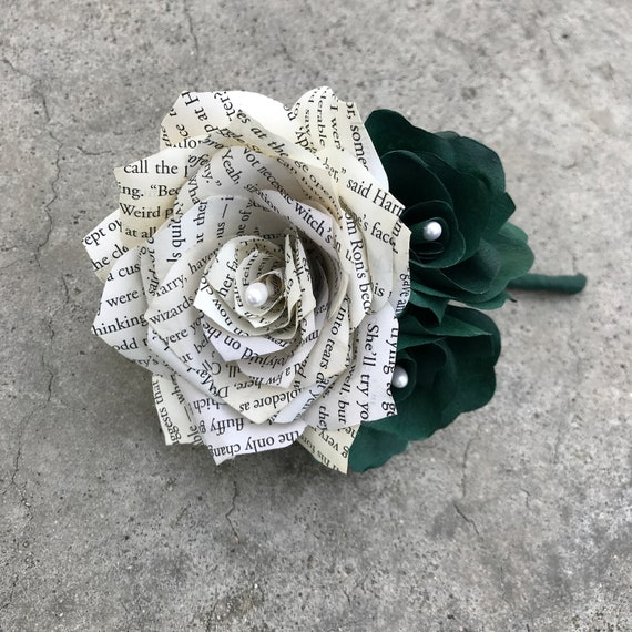 Paper Rose & Book Page Boutonniere shown in dark green - Customizable colors