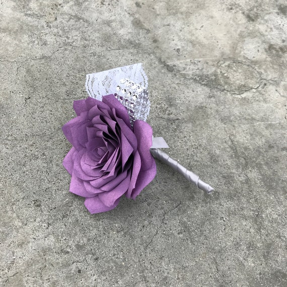 Boutonniere - Paper Flower Boutonniere for Wedding or Events - Colors are customizable