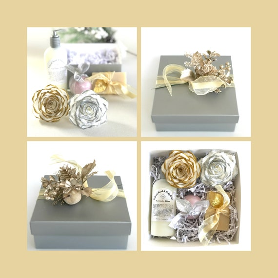 Silver and gold Christmas gift - Holiday present - Xmas gift for her - Spa Christmas gift box