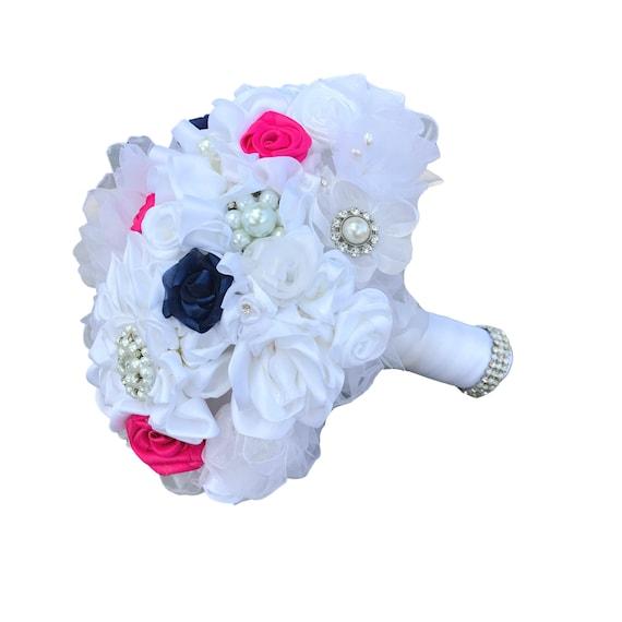 Satin ribbon brooch bridal bouquet - White, hot pink & navy blue
