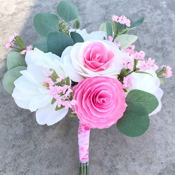 Silk and Paper flower alternative wedding bouquet pictured in pink - Customizable colors