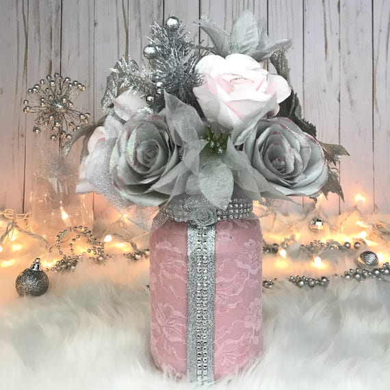 Pink and Silver Decor Paper Flowers Table Decor