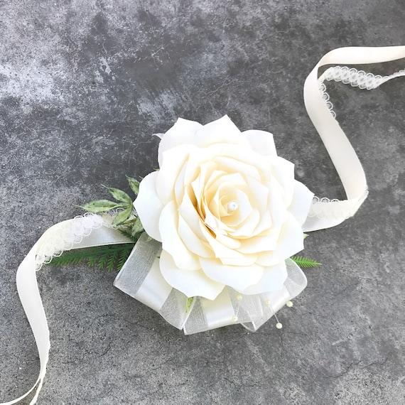 Paper Flower Corsage - Wristlet Wedding Corsage - Color choices
