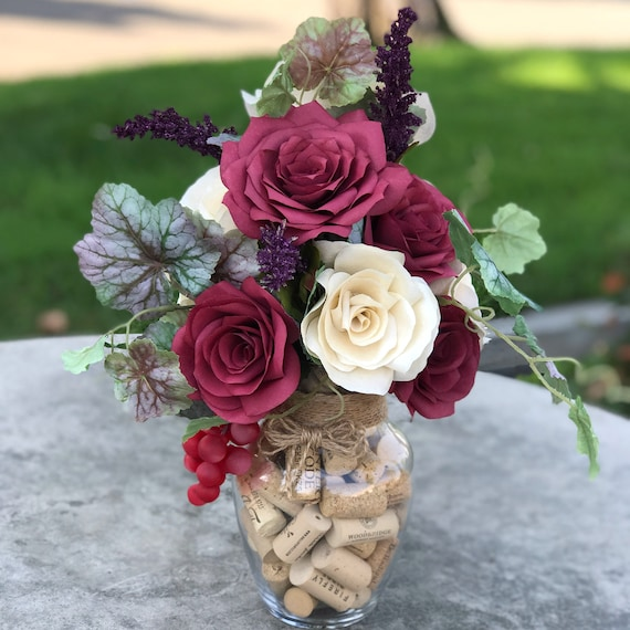 Wine Themed Centerpiece in Paper Flowers - Wine Cork Home Decor Floral Arrangement