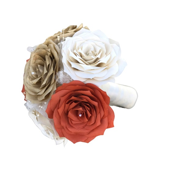 Burnt orange, ivory and gold paper rose bouquet in customizable colors and sizes