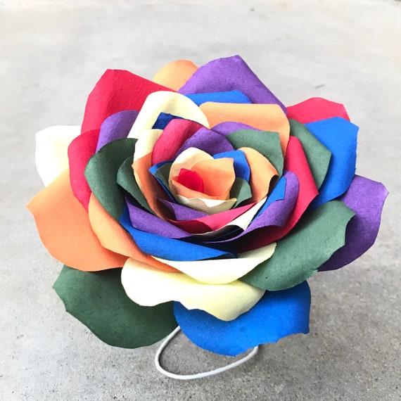 Rainbow rose - Paper flower - Customizable colors