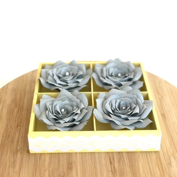 3D Paper Flower Art in yellow with Handcrafted paper flowers- Colors are customizable